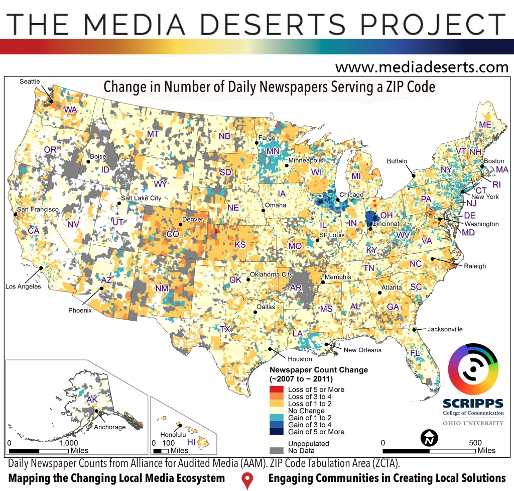 Media Deserts National Map of Daily Newspaper Counts by ZIP Code